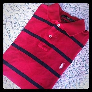 POLO Ralph Lauren Men's NWOT Red/Navy Stripe Polo